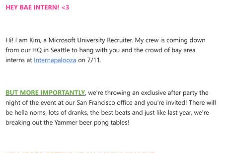 Everyone is taking the piss out of this cringey email from Microsoft - interning at microsoft