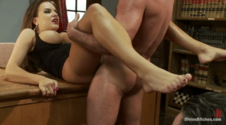 Nude Wife Showing Her Flexibility N Library Table
