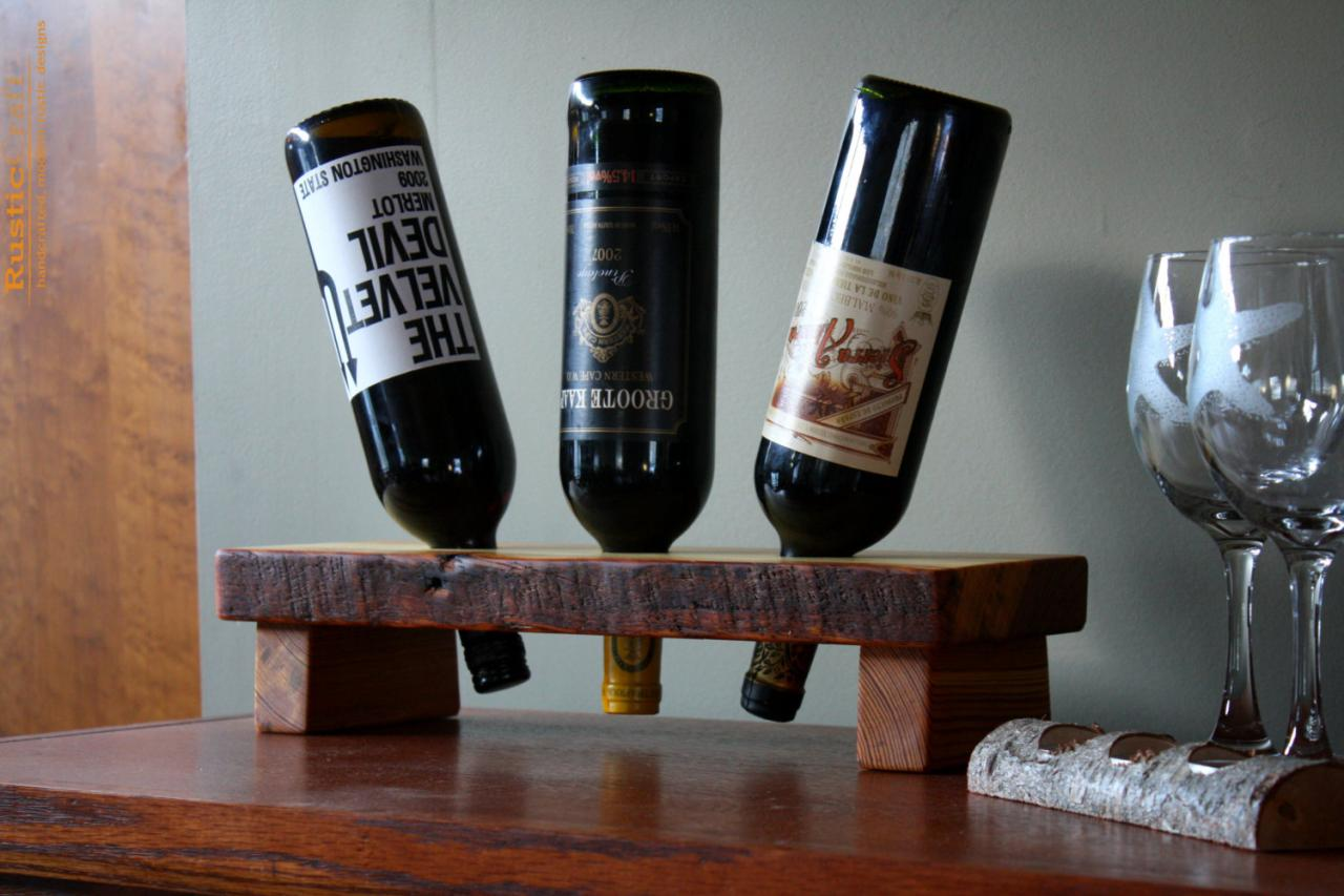 Wine Holders For Gifts 3 Bottle Wine Holder Rustic Wine Rack Display Stand