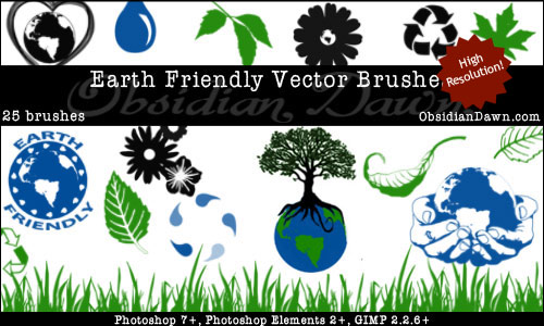 Earth Friendly Vectors Photoshop Free Brushes 123Freebrushes