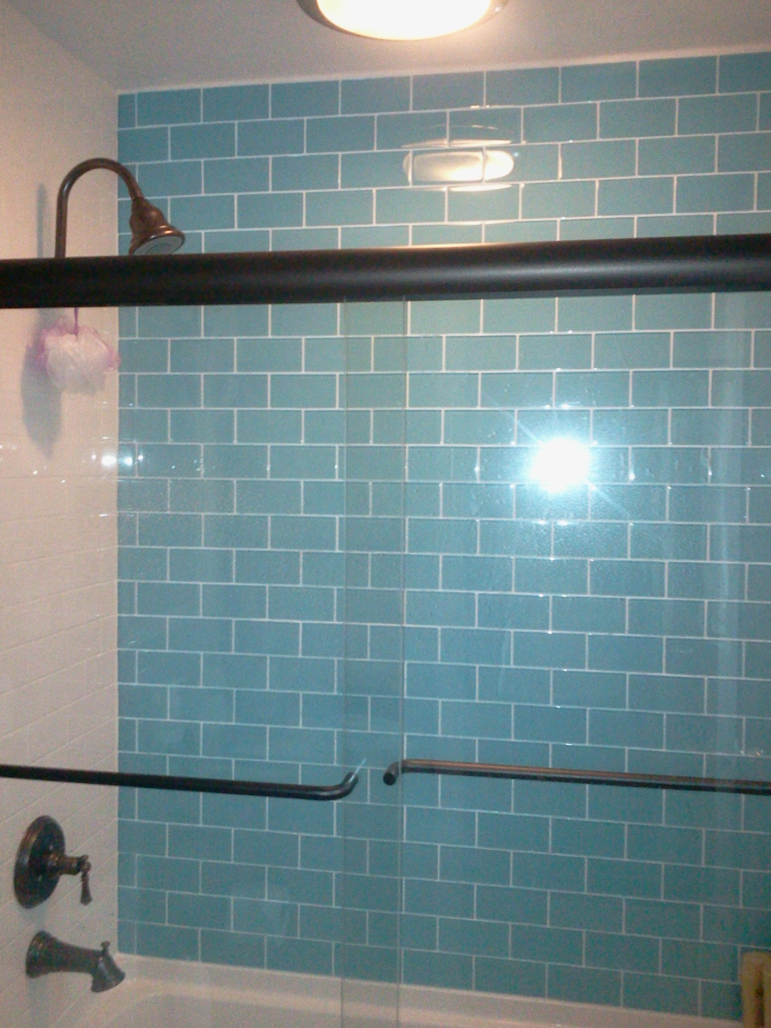 Beaufiful Blue Green Subway Tile Backsplash. Field & Subway Tile ...