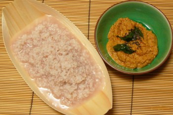 Broken rice porridge and toasted coconut chutney