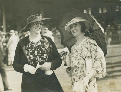 Two ladies enjoying a day out at the races, Ascot racetrack, Brisbane