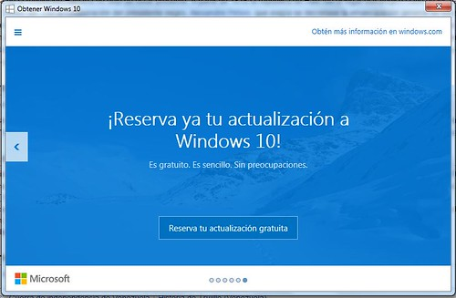 invitación a actualizar a Windows 10