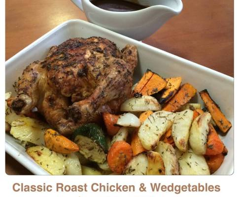Classic Roast Chicken with Roast Wedgetables