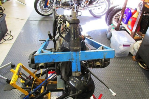 Frame Jig Installed in Steering Head
