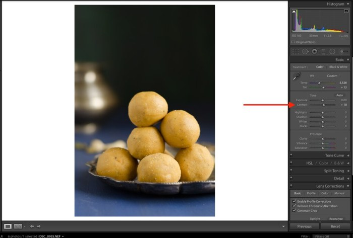 Contrast, Contrast in Lightroom, Lightroom Tutorial for Food photos, Lightroom tutorial, Editing RAW files in Lightroom,  Lightroom Food Tutorial, How to edit food photos in Lightroom,