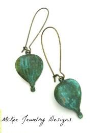 Small Hot Air Balloon Earrings, Kidney Ear Wire, Bronze ...