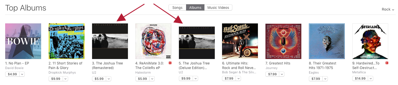 The Joshua Tree hits the iTunes album charts