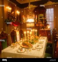 Victorian Christmas dinner table setting Stock Photo ...