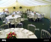 Tables Set Up For Wedding Reception in Marquee in ...