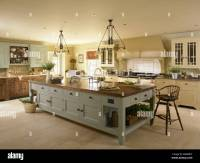 A large kitchen island unit Stock Photo, Royalty Free ...