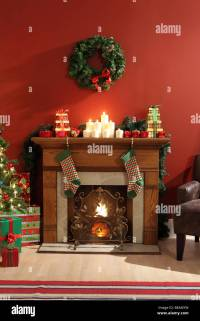 Fireplace decorated for Christmas Stock Photo, Royalty ...