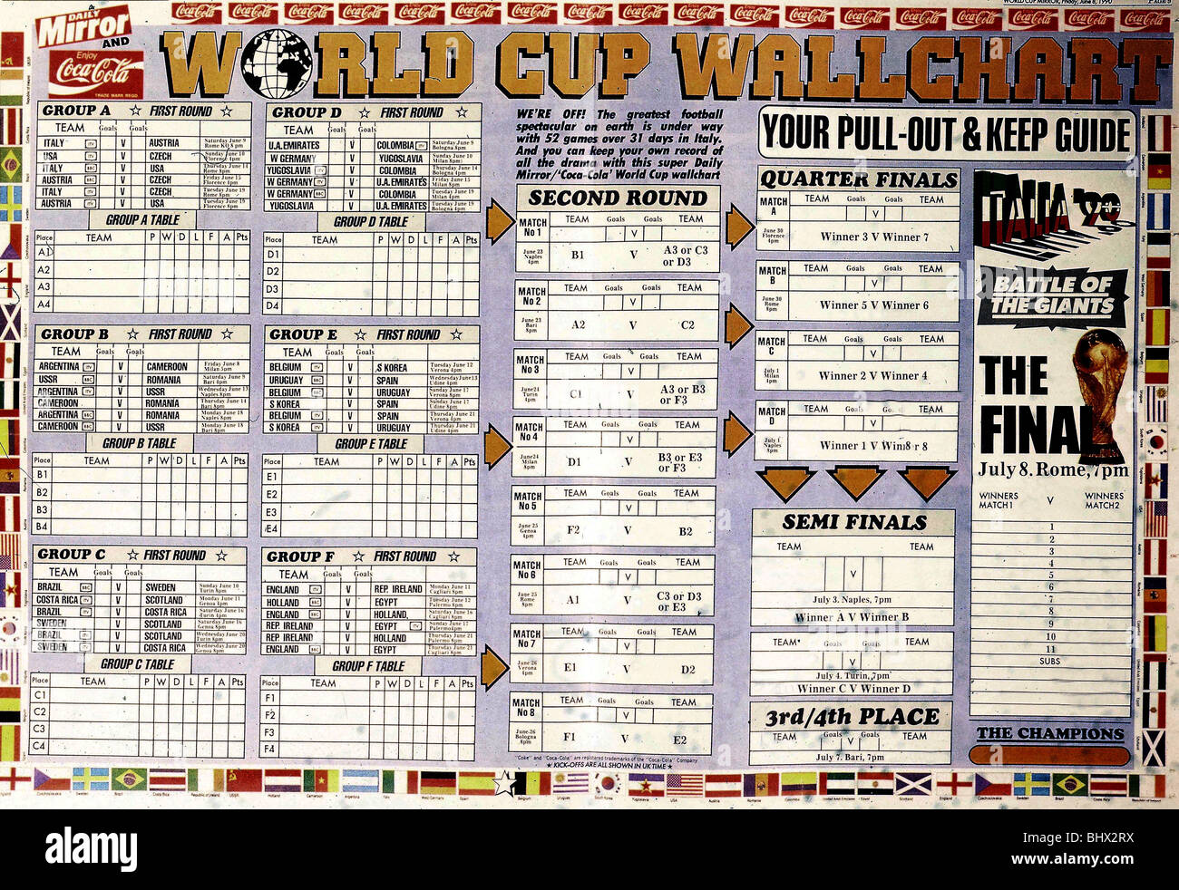 Daily Globo Daily Mirror World Cup Wallchart For 1990 Finals Held In