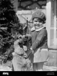 1930s LITTLE GIRL STANDING HOLDING GERMAN SHEPHERD DOG ...
