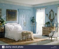 Blue white bedroom French style furniture Stock Photo ...