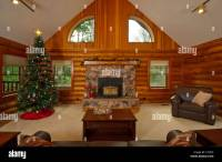 Log Cabin Living Room, Wide-angle View From Behind Couch ...