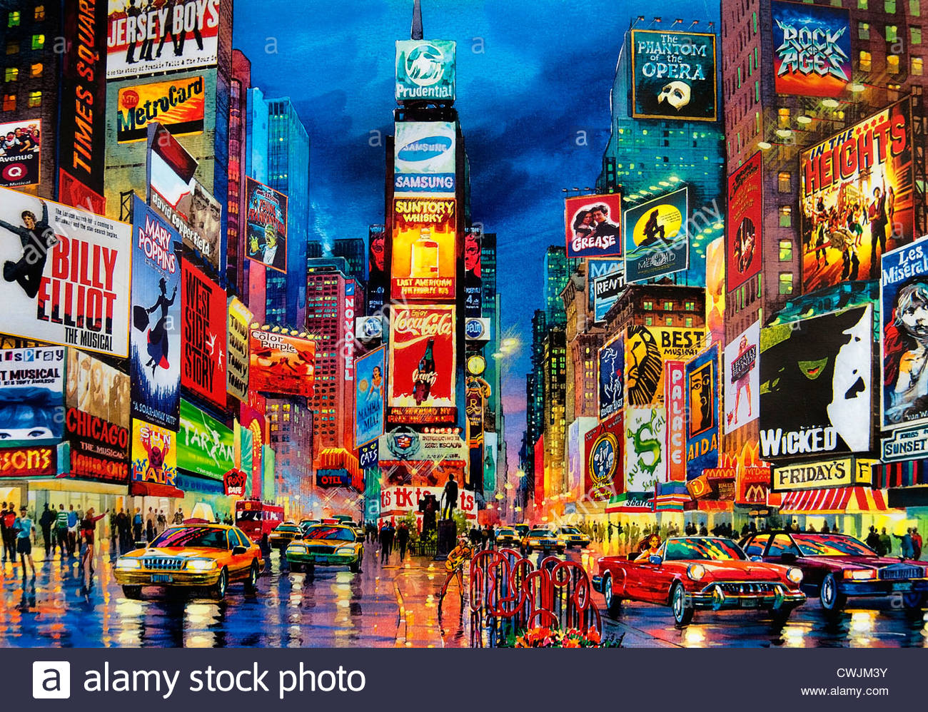 3d Wallpaper City Lights Painting Times Square Broadway New York City Theater