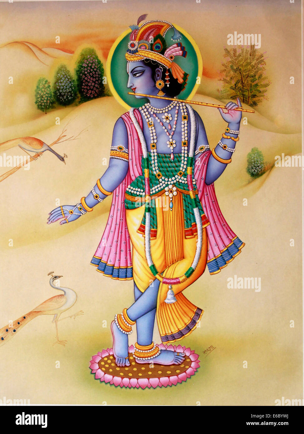 Lord Krishna With Gopis 3d Wallpaper Mural Painting Of Hindu God Krishna Stock Photo 72792766