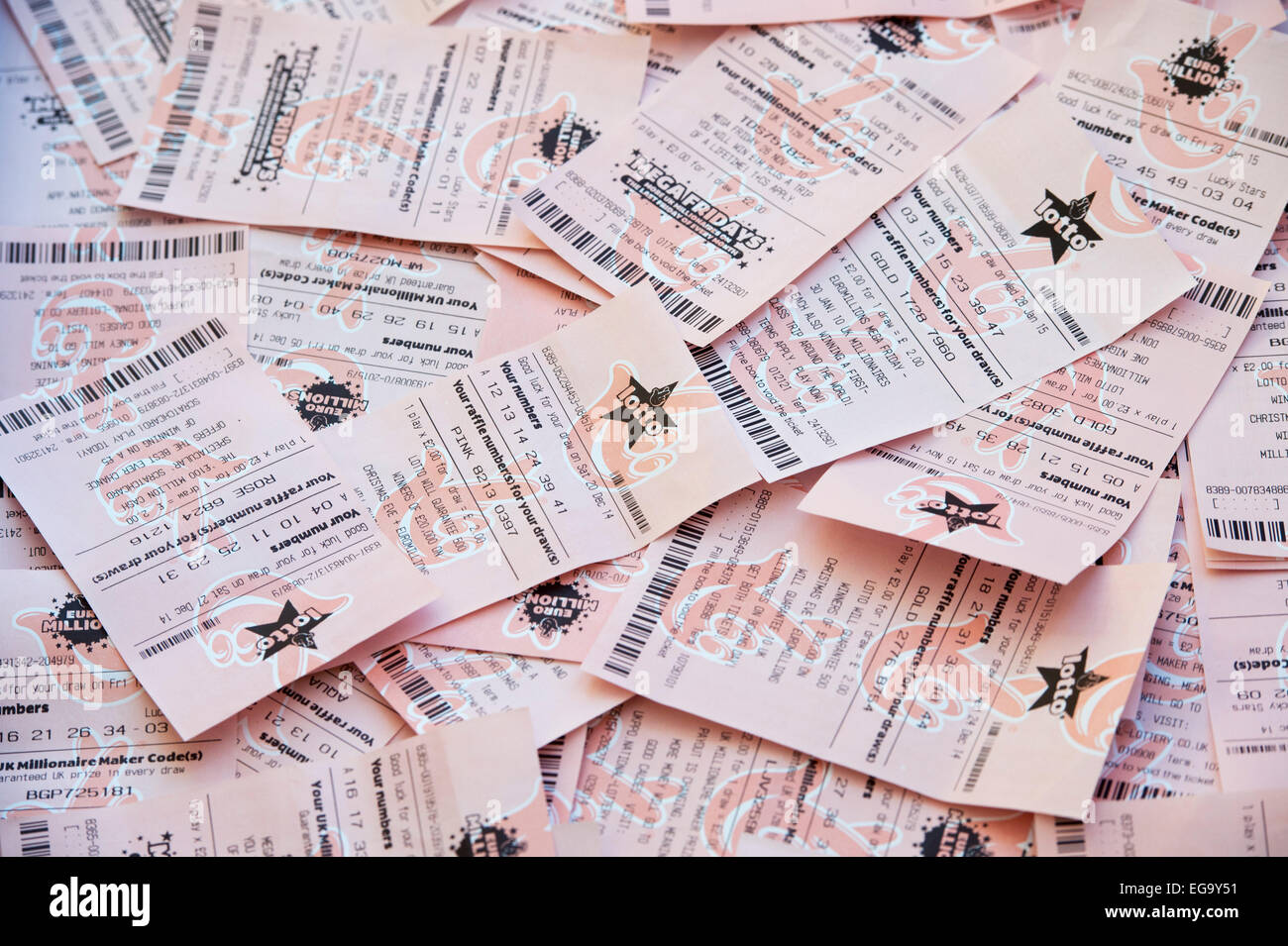 Lotto Euromillions National Lottery And Euromillions Tickets Stock Photo 78894845