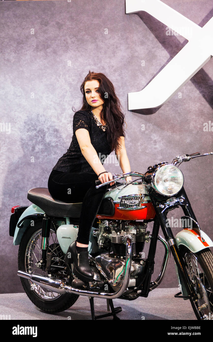 Biker Girl Wallpaper Free Download Pretty Girl Brunette Posing On Triumph Motorbike