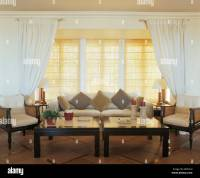 Living Room Blinds With Curtains