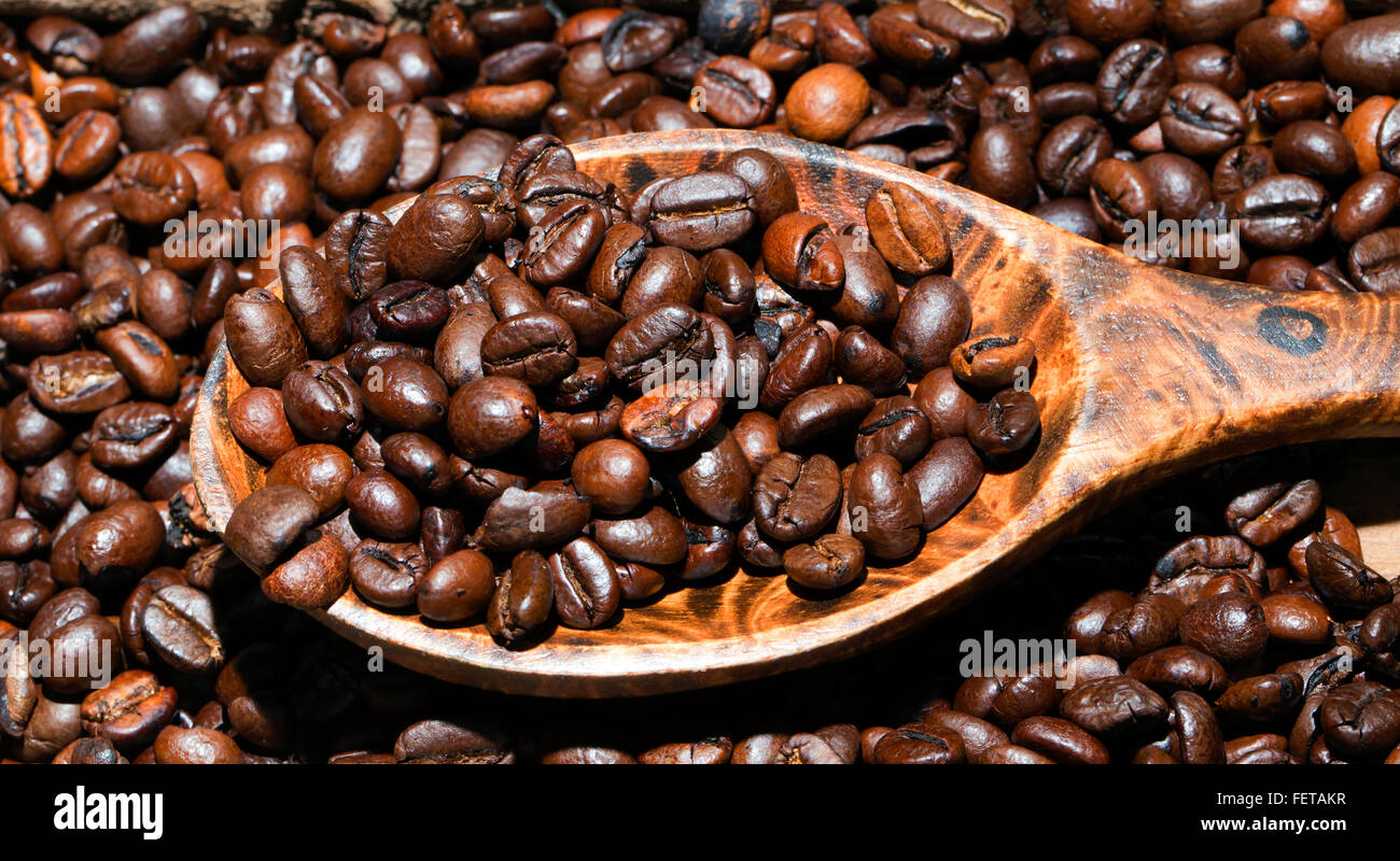 Coffee Arabica Coffee Bean Roasted Coffee Beans On Wooden Spoon Arabica And Robusta
