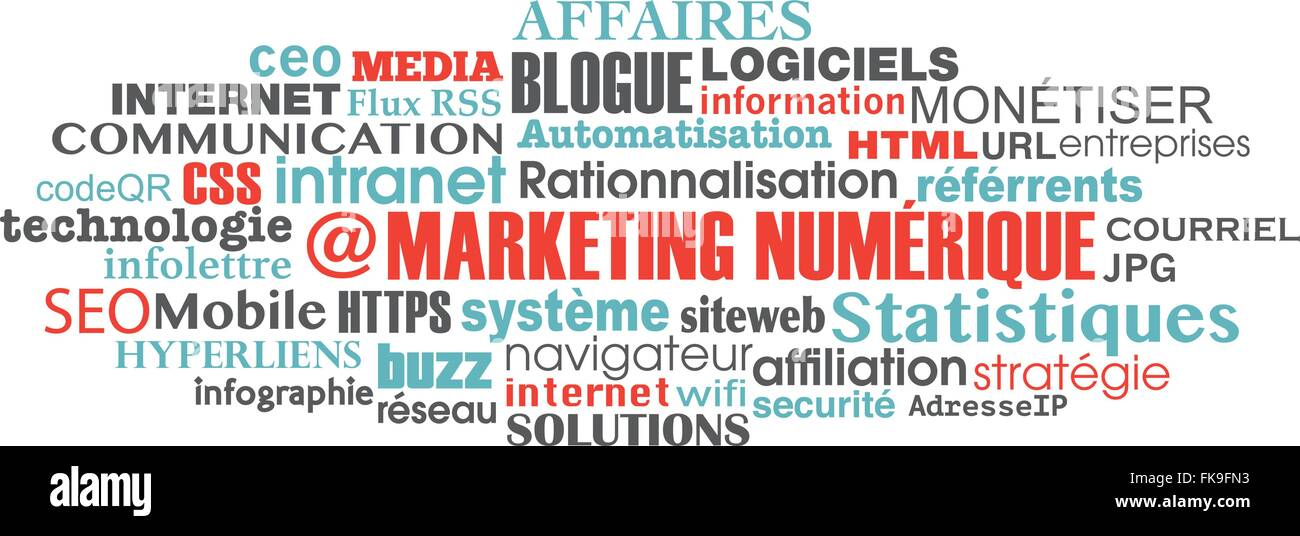 french digital marketing concept word tag cloud Stock Vector Art