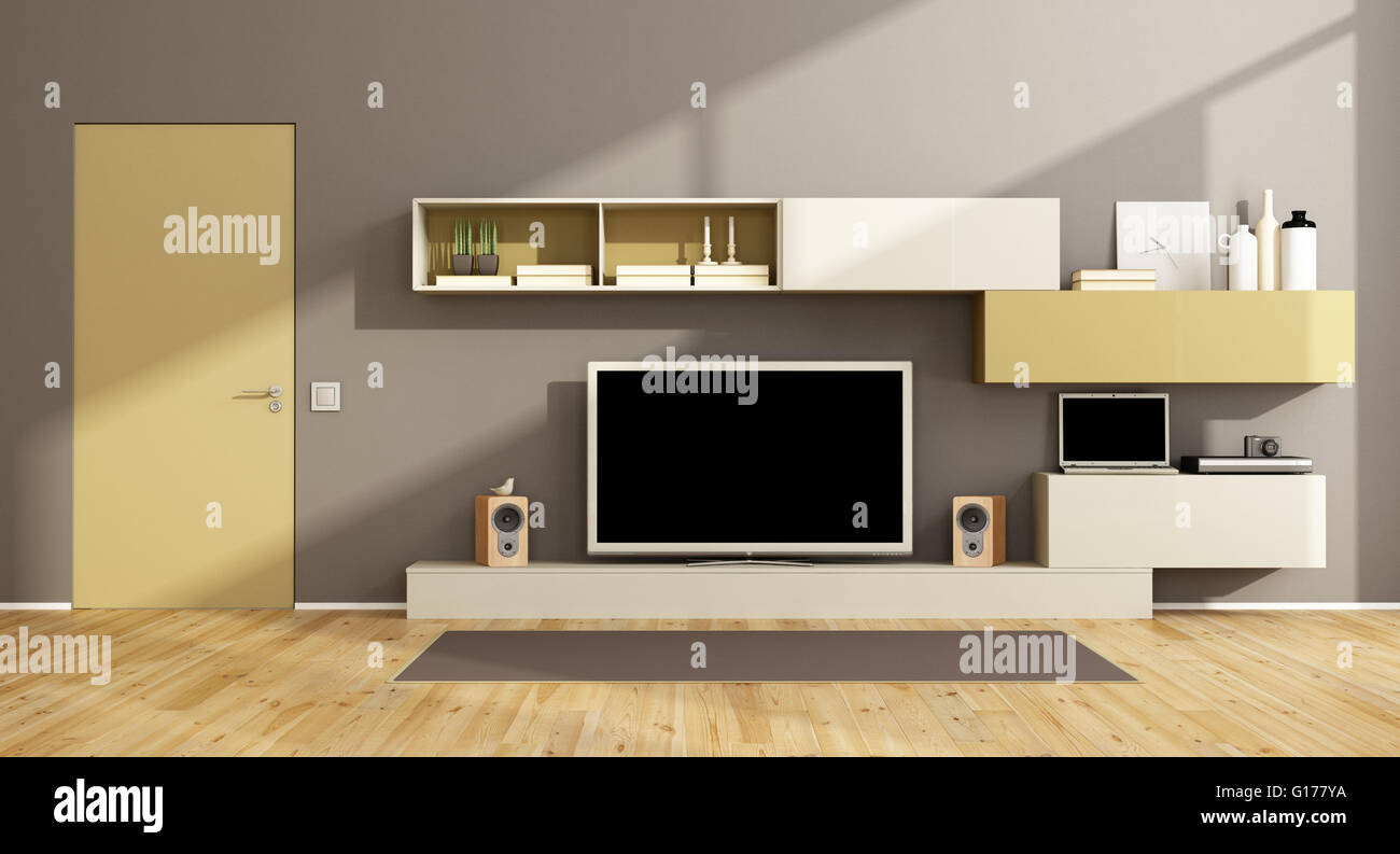 Modern living room with wall unit, tv set and closed door