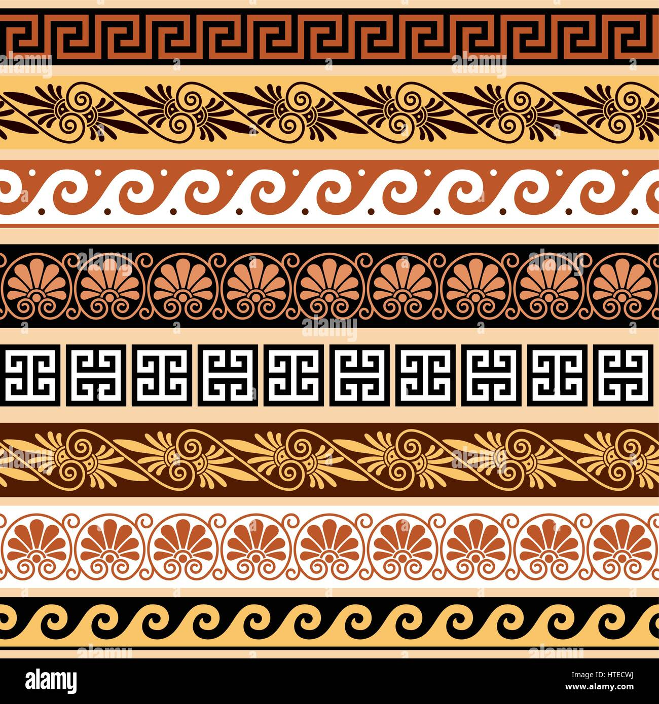 Griechische Muster Ancient Greek Pattern Seamless Set Of Antique Borders