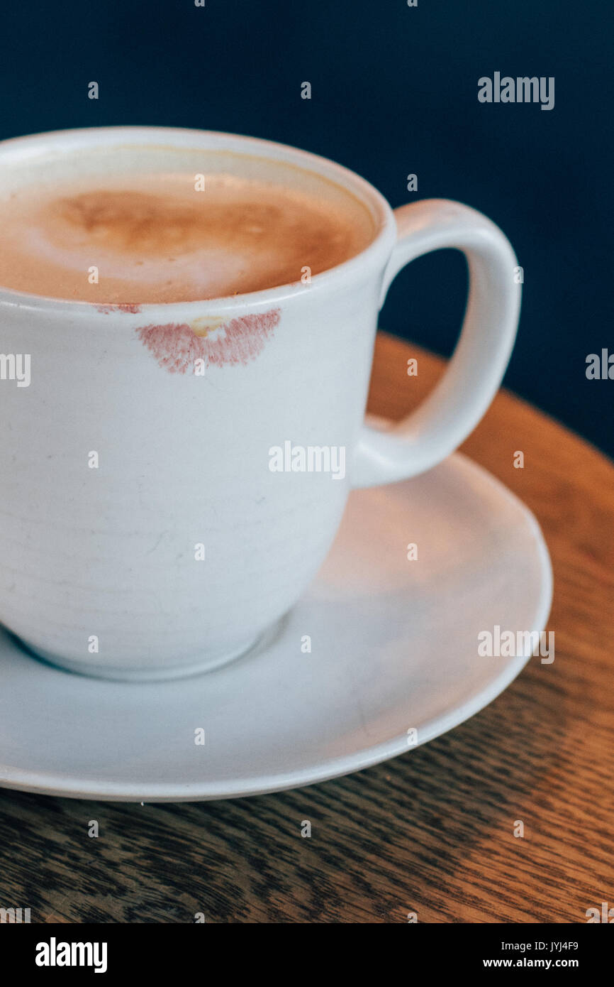 Mug A Cafe Pink Lipstick On A Latte Mug In A Cafe Stock Photo 154677357 Alamy