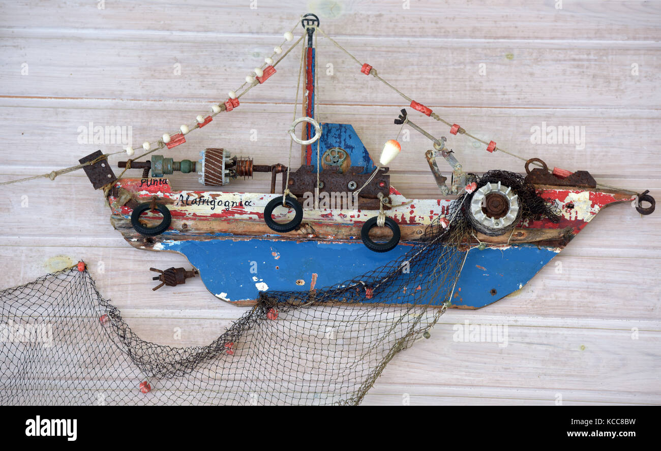 Möbel Im Shabby Look A Wall Hanging Or Model Of A Ship Or Boat In The Shabby Chic Style
