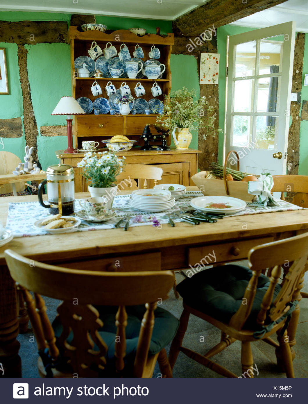 Breakfast Chairs Pine Chairs At Pine Table Set For Breakfast In Pale Green Country