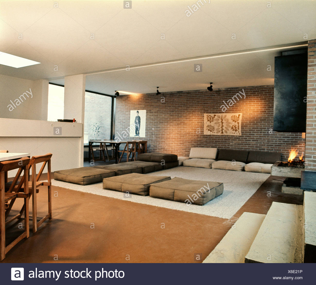 Dining Room Carpet Large Living Dining Room Brick Walls White Ceiling Brown Carpet