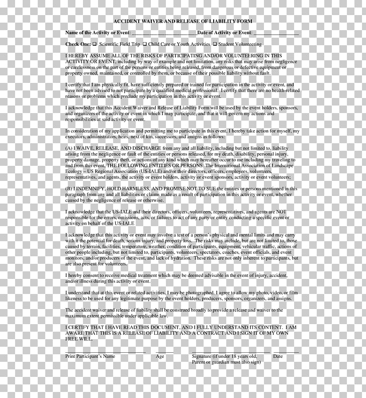 Liability waiver Legal release Form Document, others PNG clipart
