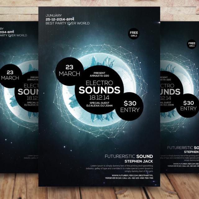 Electro sound party flyer psd file free graphics UIHere