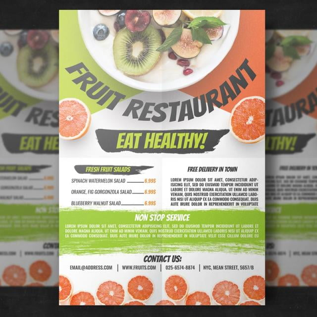 Fruit Restaurant Flyer Template psd file free graphics UIHere
