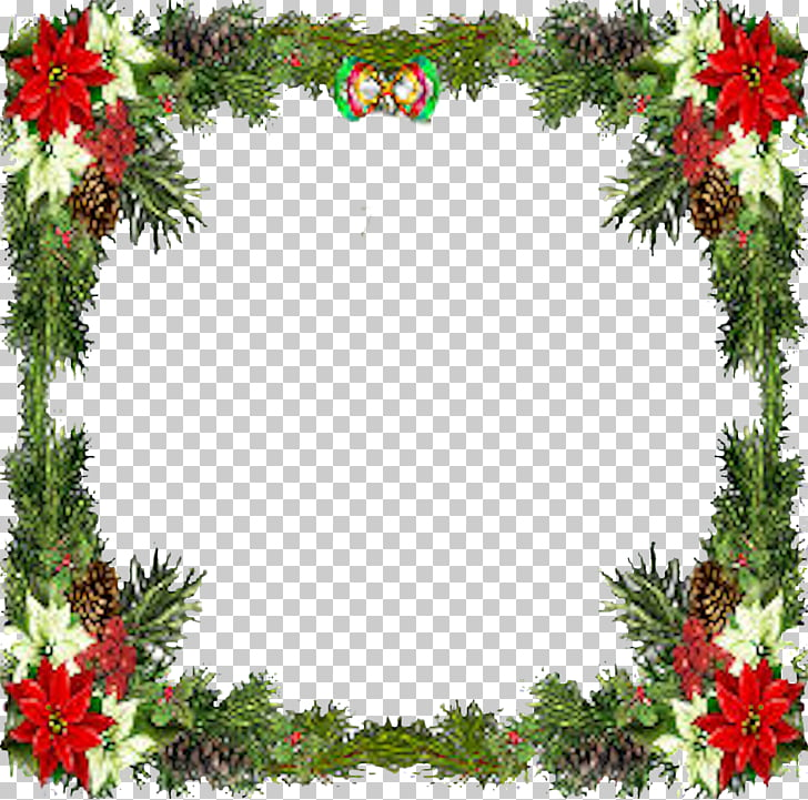 cute christmas or new year square border photo frame with bells and
