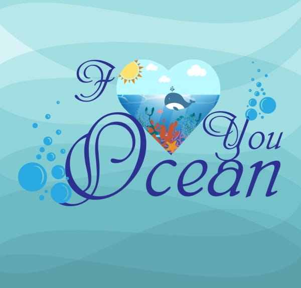 Blue ocean background calligraphic texts decoration heart icon eps