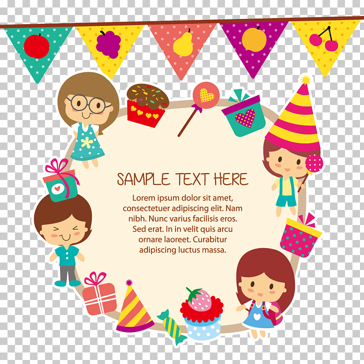 Child Birthday Greeting card , children, sample text here text PNG - Birthday Card Sample