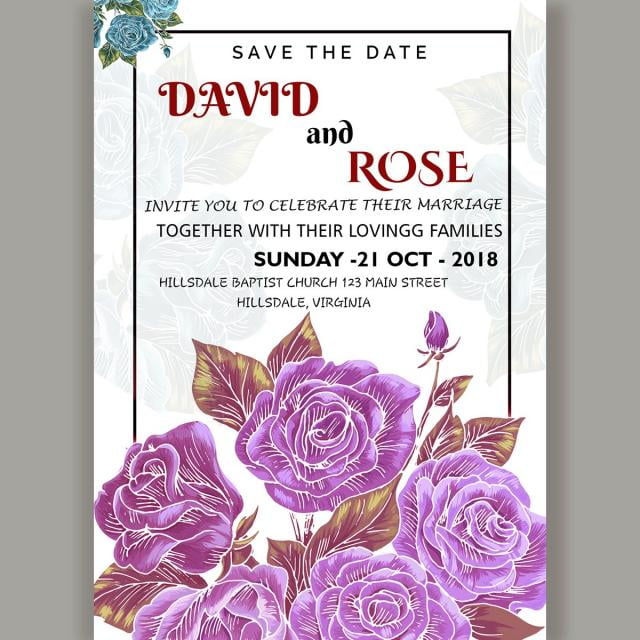 Wedding card invitation template with fresh rose psd file free