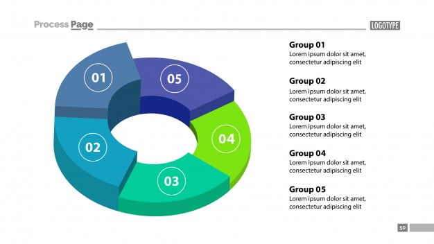 3d donut chart with five groups template eps file free graphics