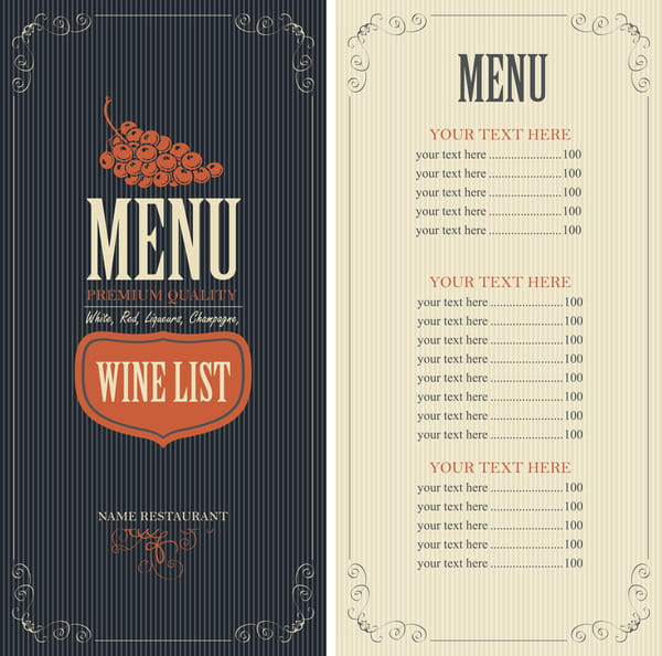 Wine menu list template vector material 02 eps file free graphics