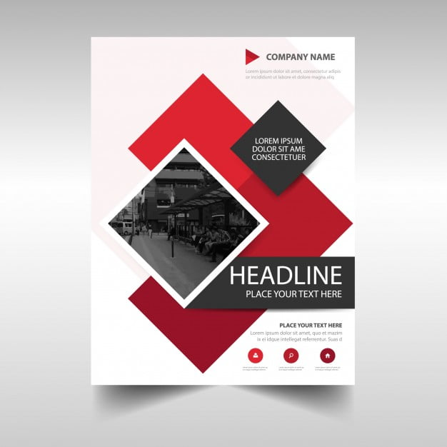 Modern red commercial annual report template eps file free