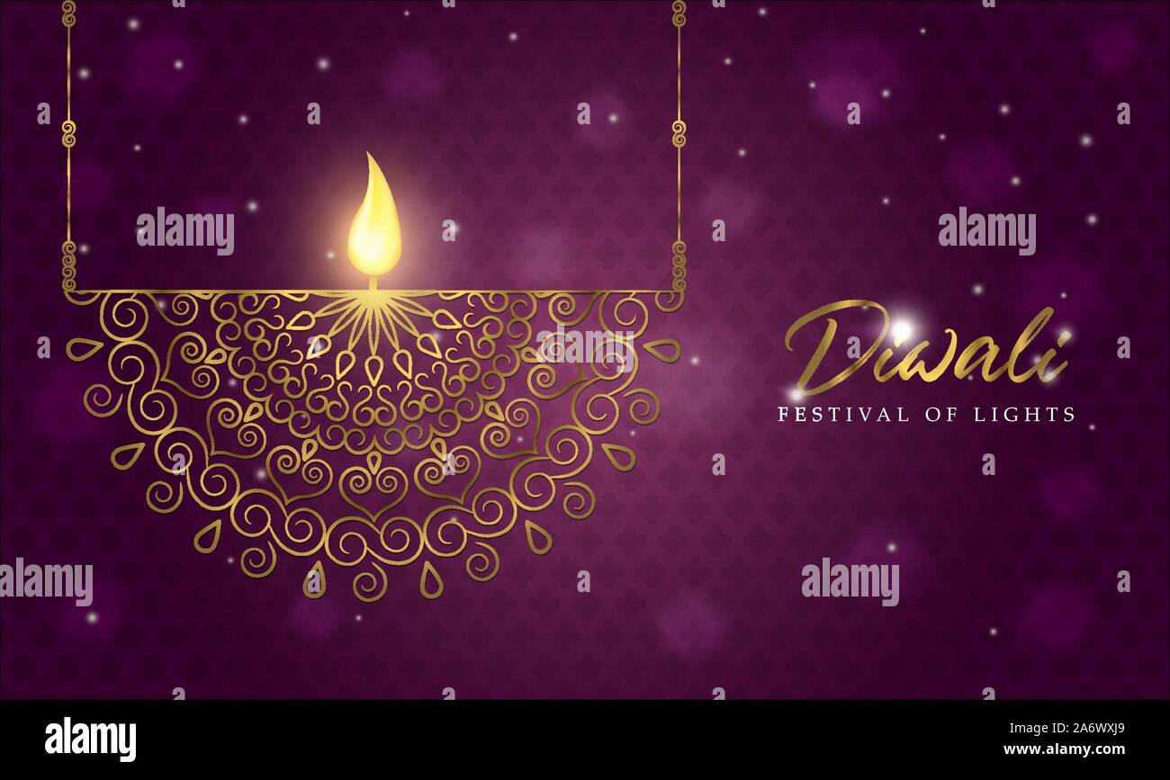 Happy Diwali Greeting Card Of Traditional Gold Hindu Decoration With Glitter And Candle Fire Luxury Indian Celebration Illustration Stock Vector Image Art Alamy