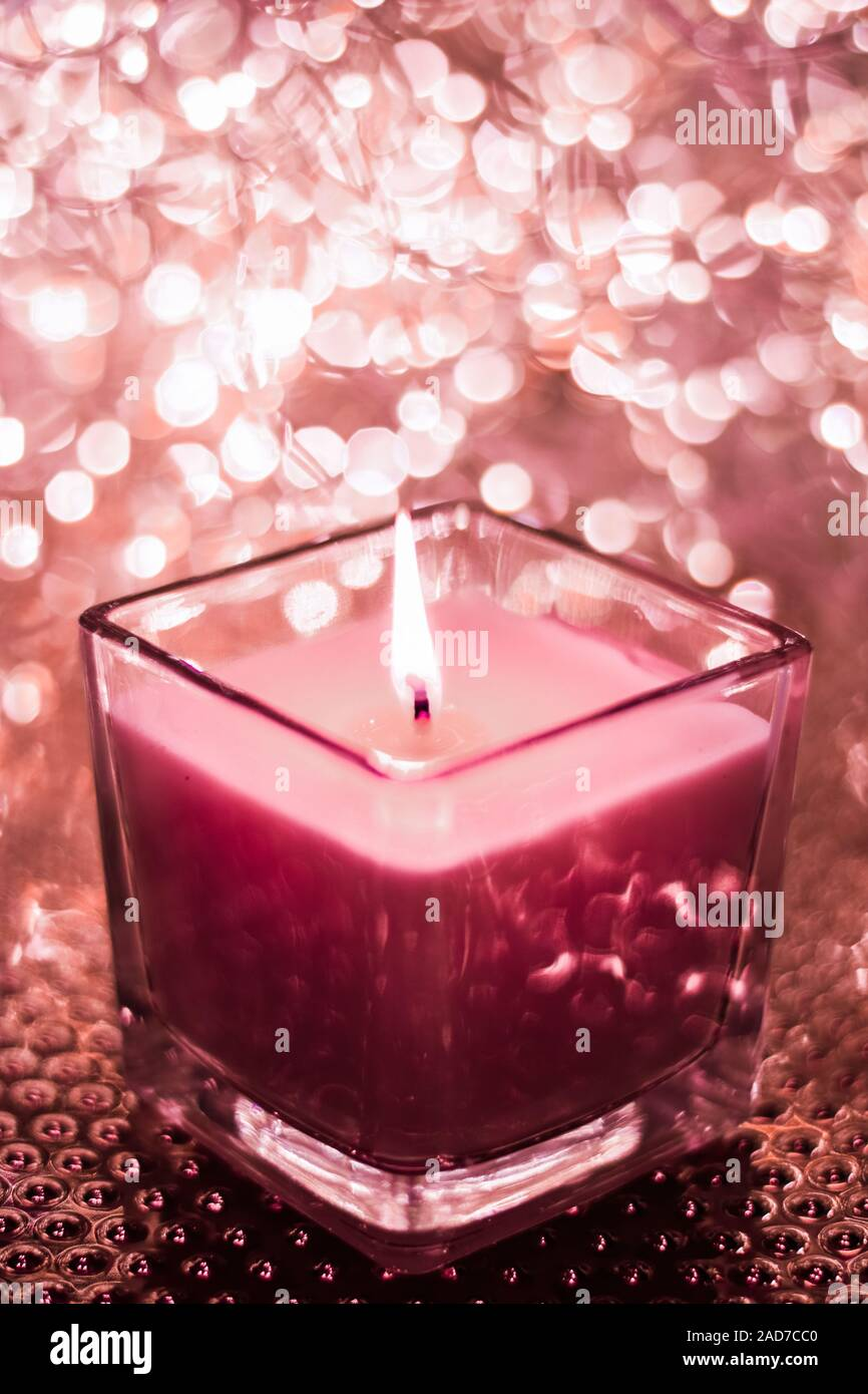 Festive Decoration Branding And Aromatherapy Spa Concept Red Aromatic Candle On Christmas And New Years Glitter Background Valentines Day Luxury H Stock Photo Alamy