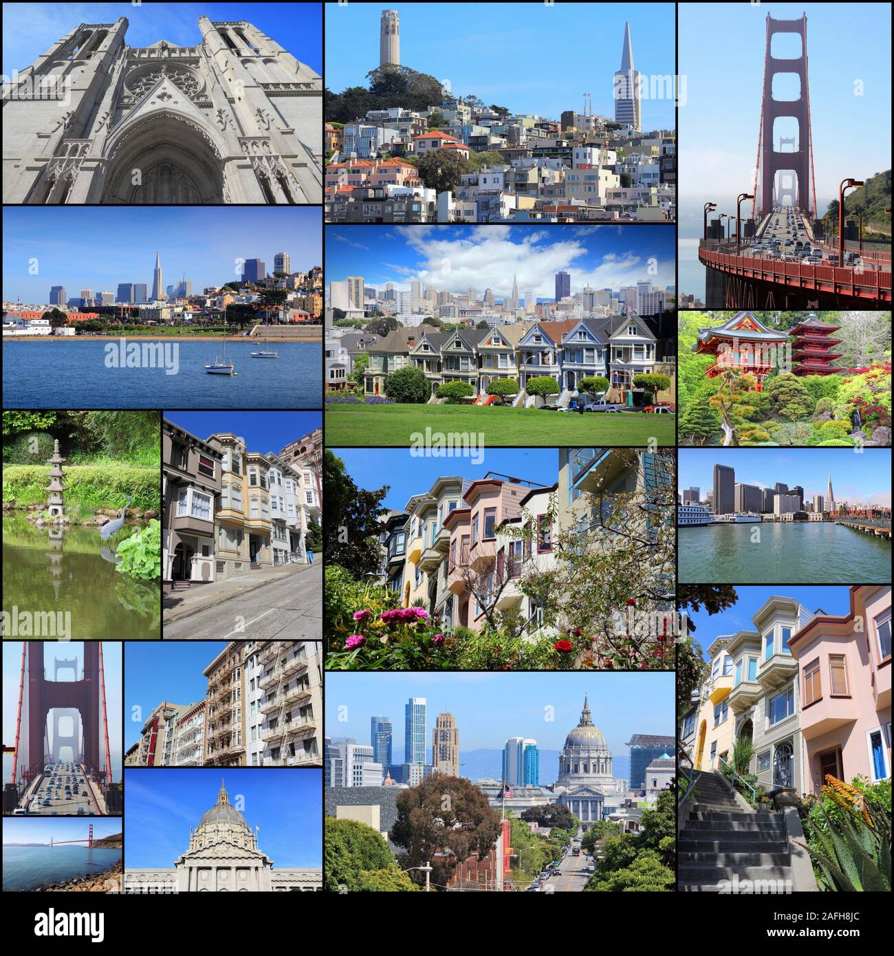 Collage Bilder San Francisco Collage - Photo Collection With Alamo Square, Nob Hill, Telegraph Hill, Grace Cathedral And Golden Gate Bridge Stock Photo - Alamy