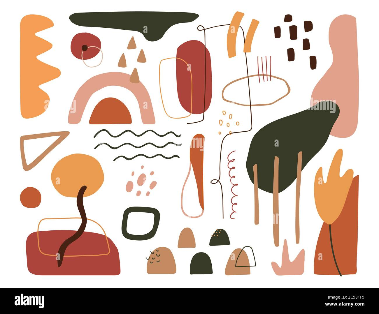 Contemporary Art Design Elements Set Modern Abstract Cover Minimal Background Organic Shapes In Pastel Colors Trendy Geometric Texture Vector Stock Vector Image Art Alamy