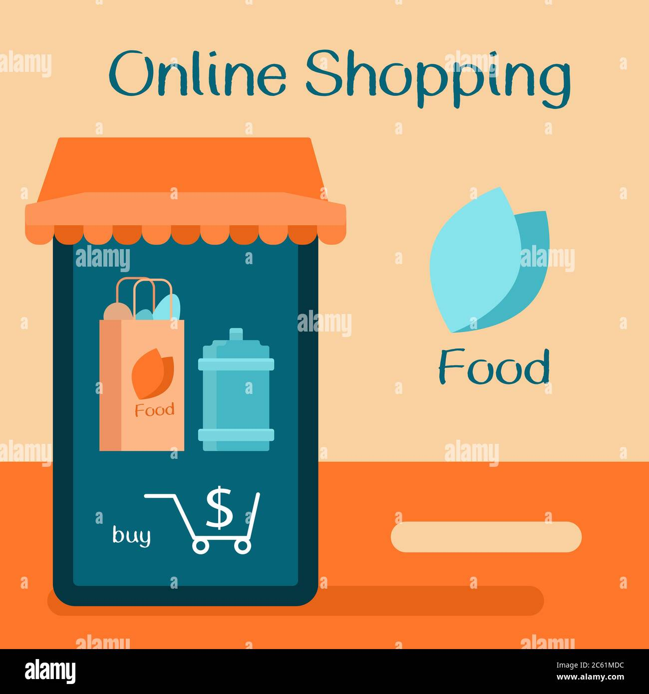Poster Online Kaufen Online Shopping Text On Beige Backdrop. Food Delivery With Copy Space For Social Banner, Web Store Or Courier Service Poster. Online Shop Logo Or Info Stock Vector Image & Art - Alamy