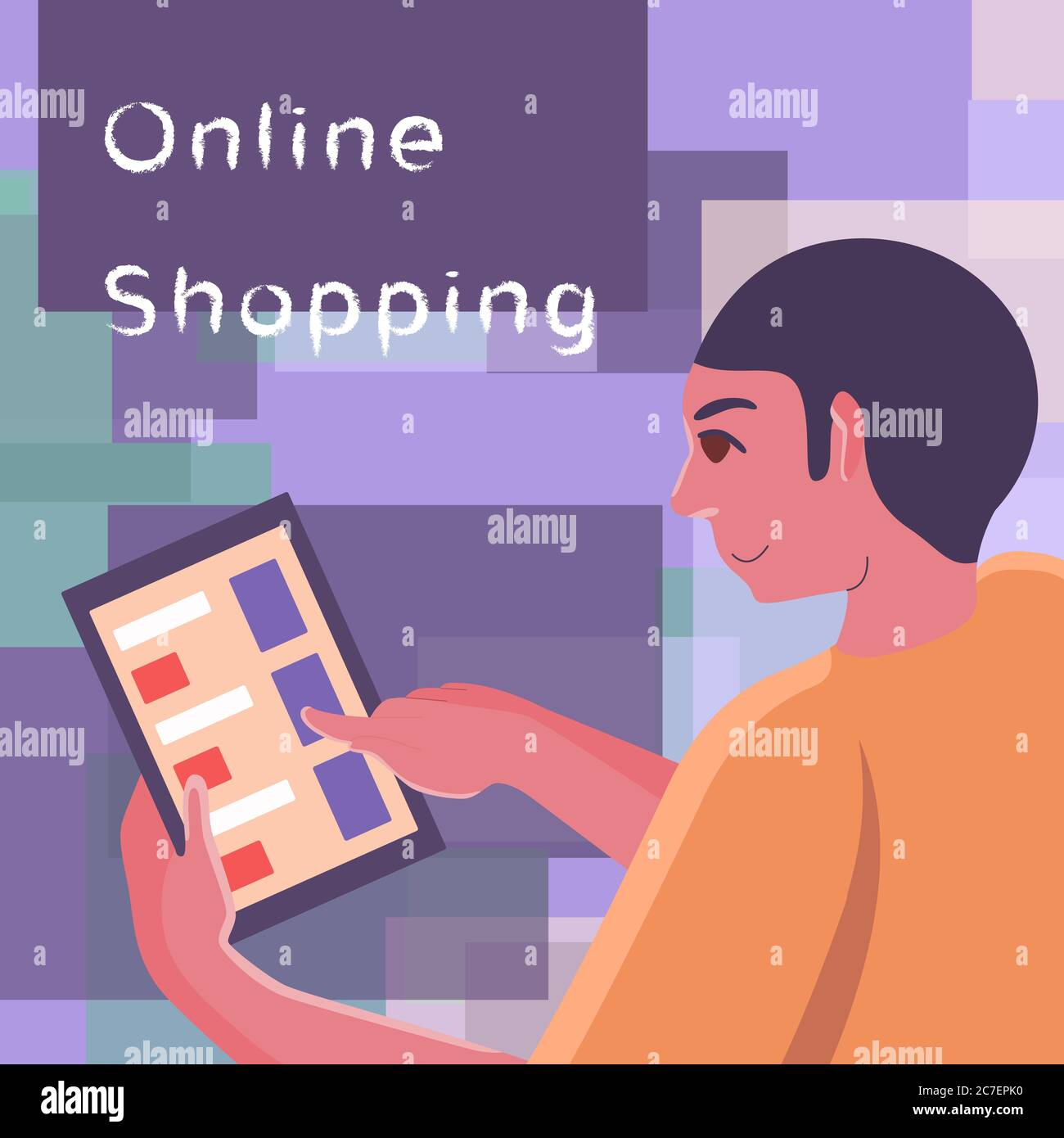 Poster Online Kaufen Online Shopping Text On Mosaic Backdrop. Internet Order With Copy Space For Social Banner, Web Store Or Courier Service Poster. Online Shop Logo Or In Stock Vector Image & Art - Alamy